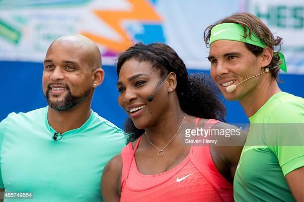 Shaun T Serena Williams and Rafael Nadal attends the 20th Annual Arthur Ashe Kids' Day at USTA Billie Jean King National Tennis Center on August 29...