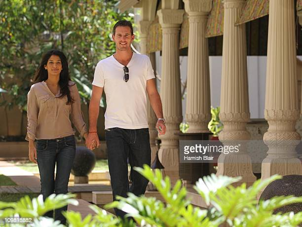 Shaun Tait and girlfriend Mashoom Singha pose for a photo in the gardens of the Royal Gardenia Hotel on March 7 in Bangalore India