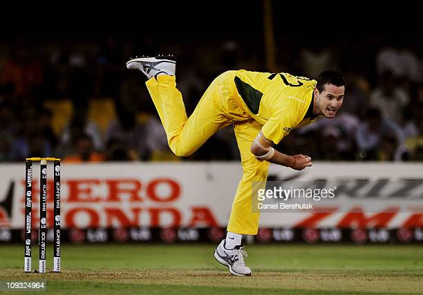 Shaun Tait of Australia bowls during 2011 ICC World Cup Group A match between Australia and Zimbabwe at the Sardar Patel Stadium on February 21 2011...