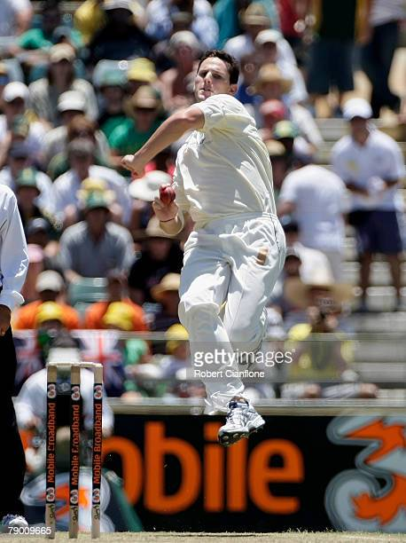Shaun Tait of Australia bowls during day one of the Third Test match between Australia and India at the WACA on January 16 2008 in Perth Australia