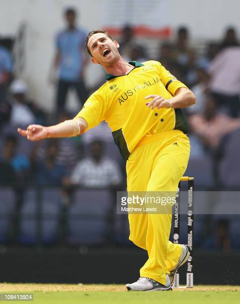 Shaun Tait of Australia celebrates after bowling Ross Taylor of New Zealand during the 2011 ICC World Cup Group A match between Australia and New...