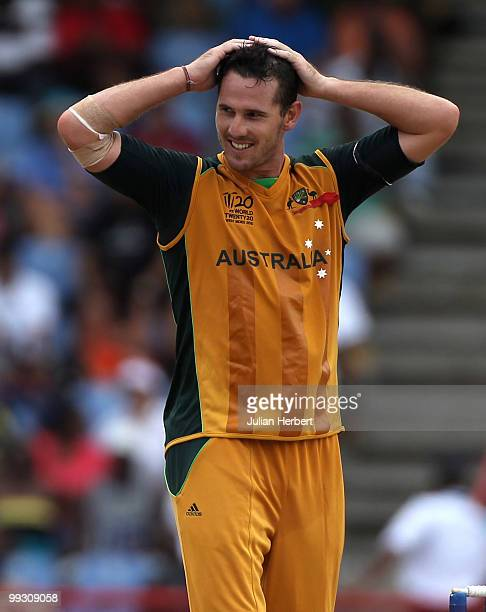 Shaun Tait of Australia looks despondent as runs are scored of his bowling during the semi final of the ICC World Twenty20 between Australia and...