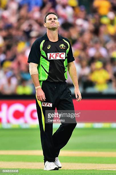 Shaun Tait of Australia reacts during game one of the Twenty20 International match between Australia and India at Adelaide Oval on January 26 2016 in...