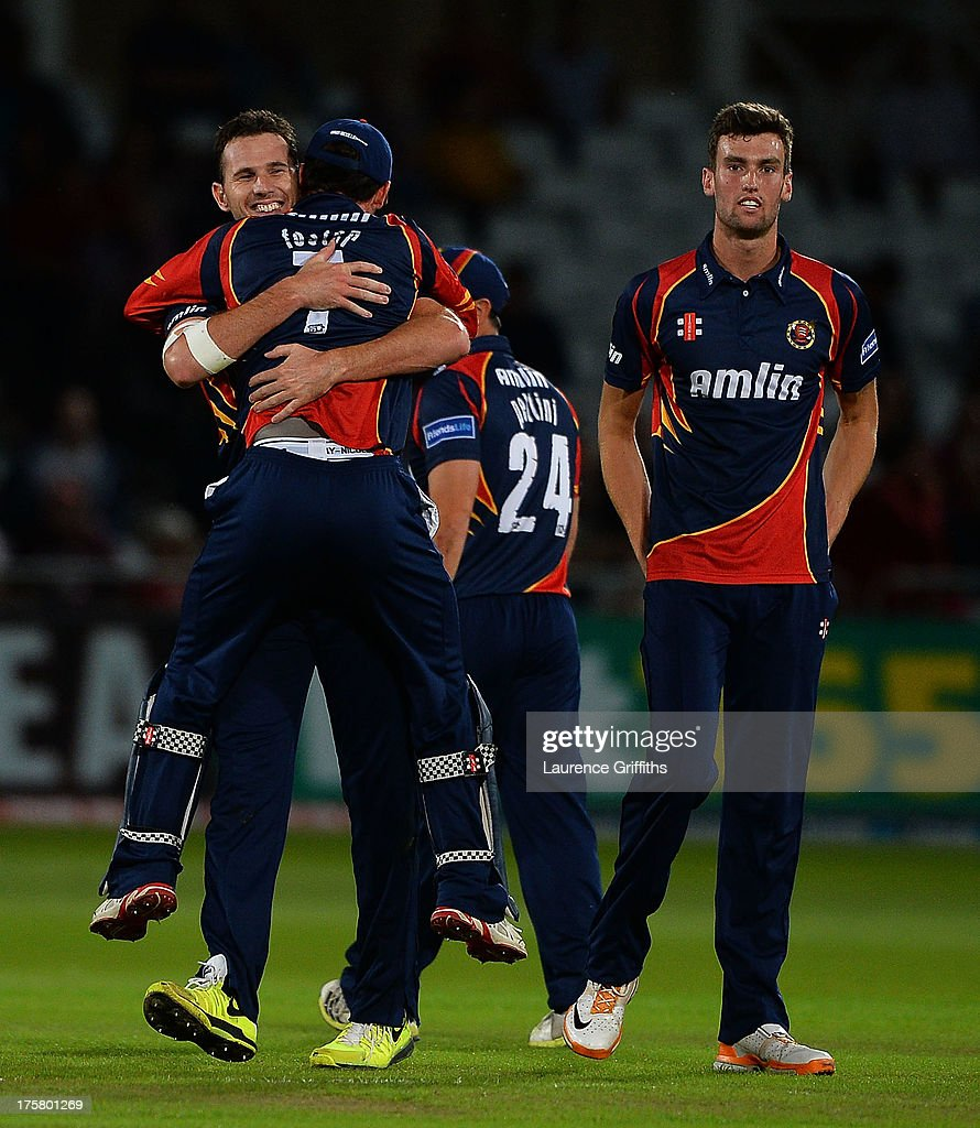 Shaun Tait of Essex Eagles celebrates the wicket of Graeme White of Nottinghamshire Shaun Tait of Essex Eagles during the Freinds Life T20 Quarter Final match between Nottinghamshire Outlaws and Essex Eagles at Trent Bridge on August 8, 2013 in Nottingham, England.