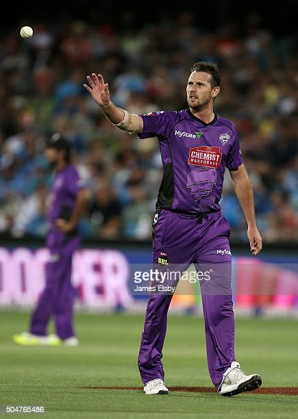 Shaun Tait of Hobart prepares to bowl during the Big Bash League match between the Adelaide Strikers and the Hobart Hurricanes at Adelaide Oval on...