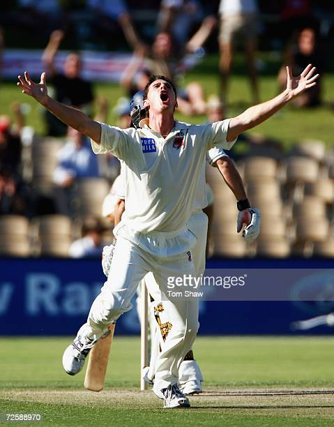 Shaun Tait of South Australia appeals for and gets the wicket of Andrew Strauss during the three day tour match between South Australia and England...