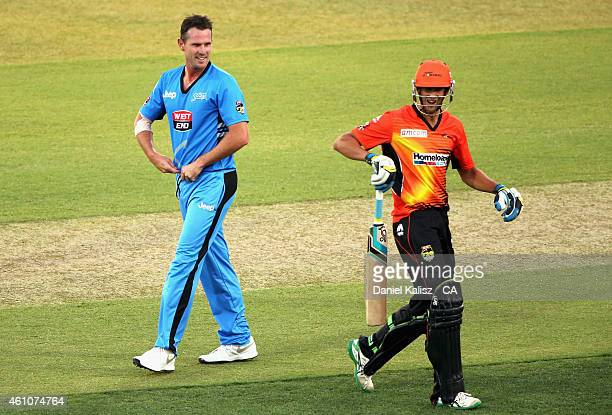 Shaun Tait of the Adelaide Strikers reacts after dismissing Ashton Agar of the Scorchers during the Big Bash League match between the Adelaide...