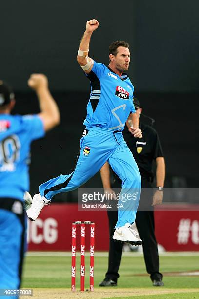 Shaun Tait of the Adelaide Strikers reacts after taking a wicket during the Big Bash League match between the Adelaide Strikers and the Hobart...