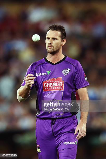Shaun Tait of the Hobart Hurricanes prepares to bowl during the Big Bash League match between the Adelaide Strikers and the Hobart Hurricanes at...