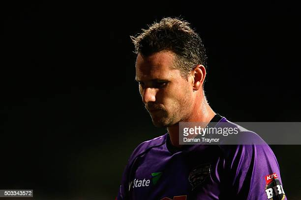 Shaun Tait of the Hobart Hurricanes walks to his fielding position during the Big Bash League match between the Hobart Hurricanes and the Melbourne...