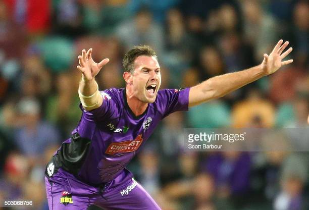 Shaun Tait of the Hurricanes appeals during the Big Bash League match between the Hobart Hurricanes and the Sydney Thunder at Blundstone Arena on...