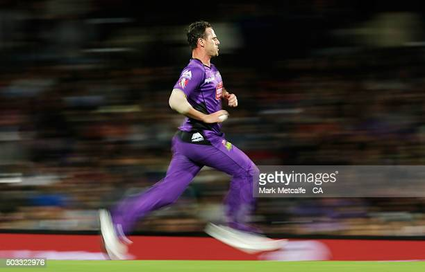 Shaun Tait of the Hurricanes bowls during the Big Bash League match between the Hobart Hurricanes and the Melbourne Renegades at Blundstone Arena on...