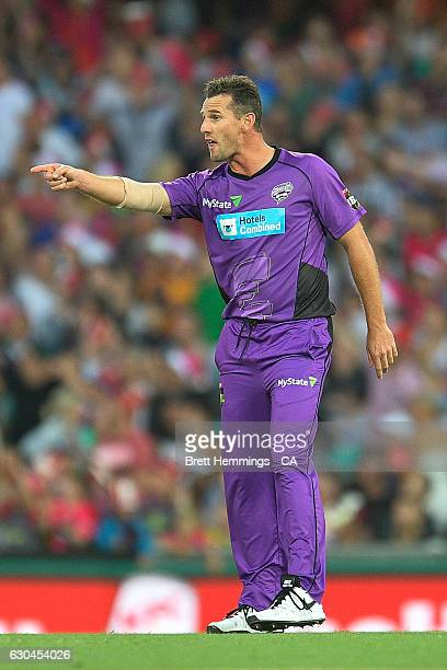 Shaun Tait of the Hurricanes reacts during the Big Bash League match between the Sydney Sixers and Hobart Hurricanes at Sydney Cricket Ground on...