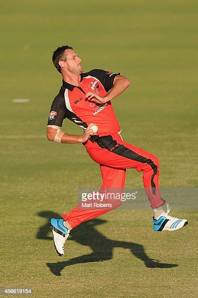 Shaun Tait of the Redbacks bowls during the Matador BBQs One Day Cup match between New South Wales and South Australia at Allan Border Field on...