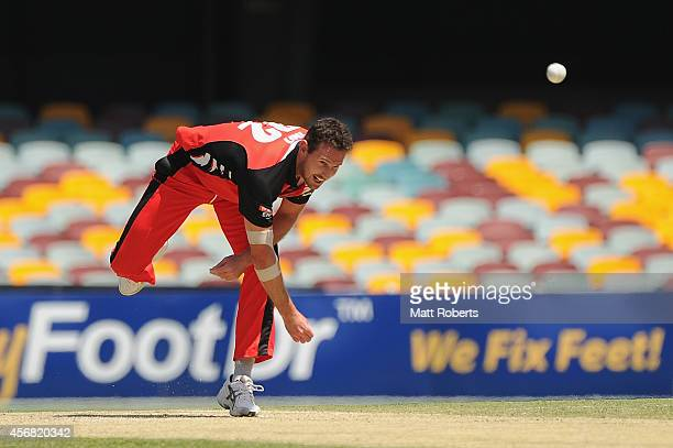Shaun Tait of the Redbacks bowls during the Matador BBQs One Day Cup match between South Australia and Western Australia at The Gabba on October 8...