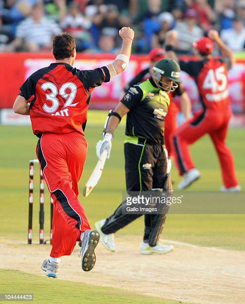 Shaun Tait of the Redbacks celebrates the wicket of Ashwell Prince of the Warriors during the Airtel Champions League Twenty20 semi final match...