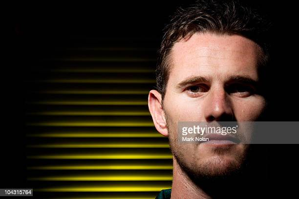 Shaun Tait poses during an Australian cricket team portrait session at the Hyatt Coolum on August 23 2010 in Coolum Beach Australia