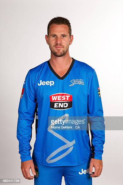Shaun Tait poses during the Adelaide Strikers Big Bash League headshot session on December 14 2014 in Adelaide Australia