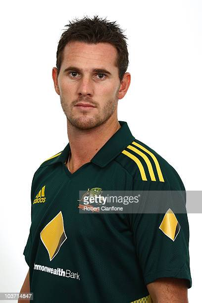 Shaun Tait poses for a portrait during the official Australian One Day International cricket team headshots session at the Hyatt Coolum on August 23...