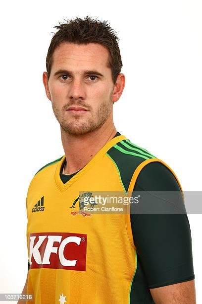 Shaun Tait poses for a portrait during the official Australian Twenty20 cricket team headshots session at the Hyatt Coolum on August 23 2010 in...
