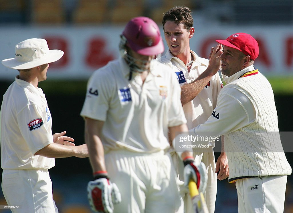 Shaun Tate of the Redbacks celebrates the wicket of Shane Watson of the Bulls during day 2 of the Pura Cup match between the Queensland Bulls and South Australia Redbacks at the Gabba, February 25, 2005 in Brisbane, Australia