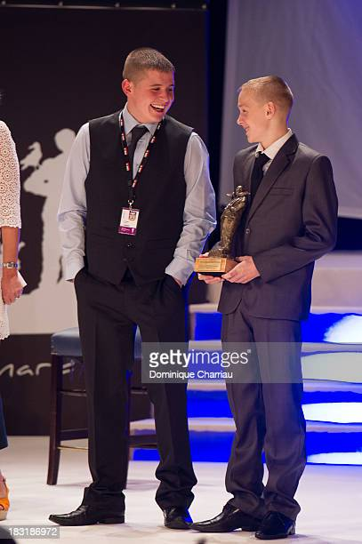 Shaun Thomas and Conner Chapman attend the Dinard British film festival closing ceremony on October 5 2013 in Dinard France