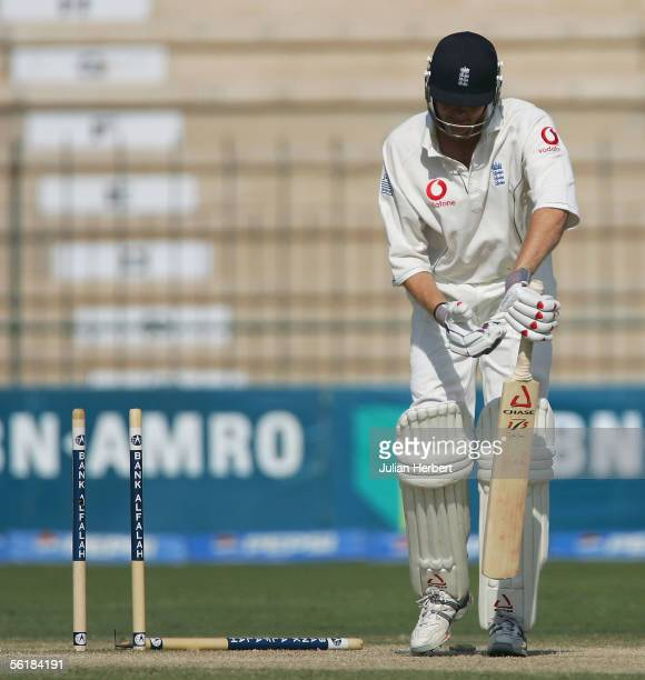 Shaun Udal is bowled out during the Fifth day of the First Test Match between Pakistan and England at The Multan Cricket Stadium on November 16 2005...