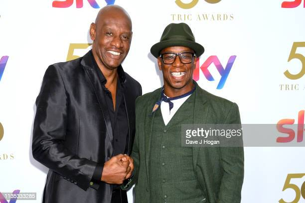 Shaun Wallace and Ian Wright attend the 2019 'TRIC Awards' held at The Grosvenor House Hotel on March 12 2019 in London England
