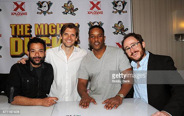 Shaun Weiss Vincent La Russo Brandon Quintin Adams and Matt Doherty from the movie The Mighty Ducks attends day 2 of the Chiller Theater Expo at...
