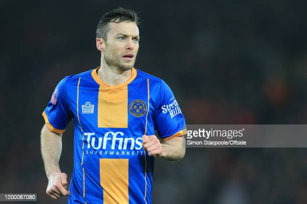 Shaun Whalley of Shrewsbury looks on during the FA Cup Fourth Round Replay match between Liverpool and Shrewsbury Town at Anfield on February 4 2020...