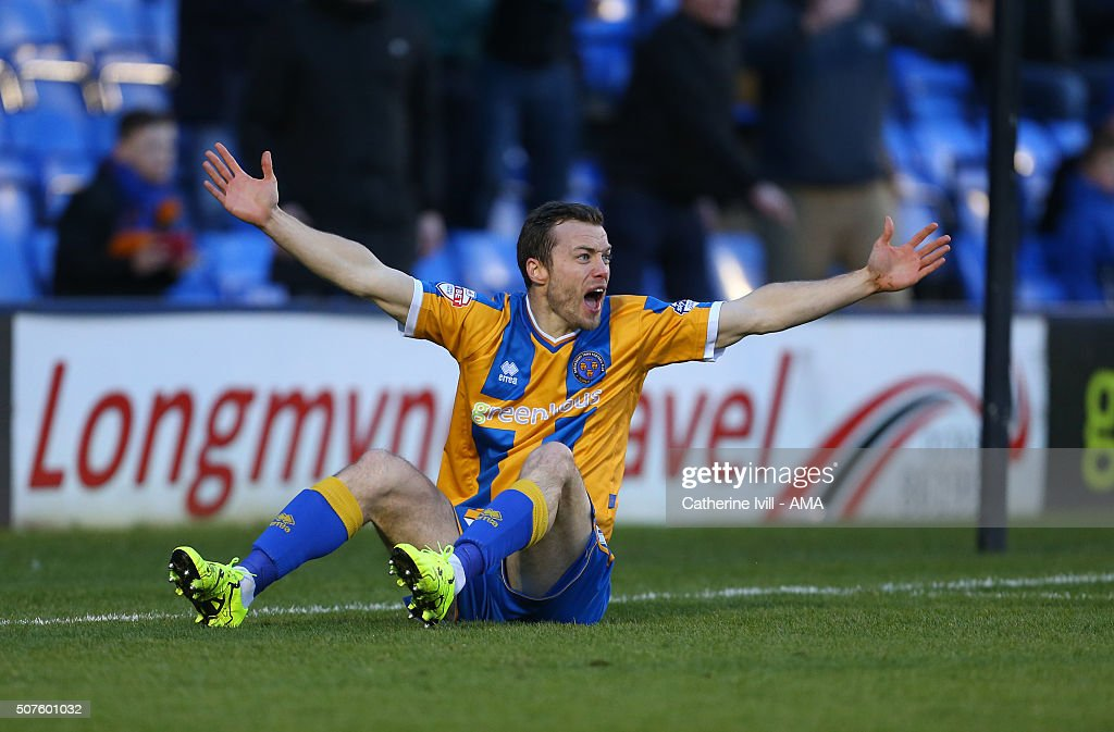 Shaun Whalley of Shrewsbury Town appeals during the Emirates FA Cup match between Shrewsbury Town and Sheffield Wednesday at New Meadow on January 30, 2016 in Shrewsbury, England.