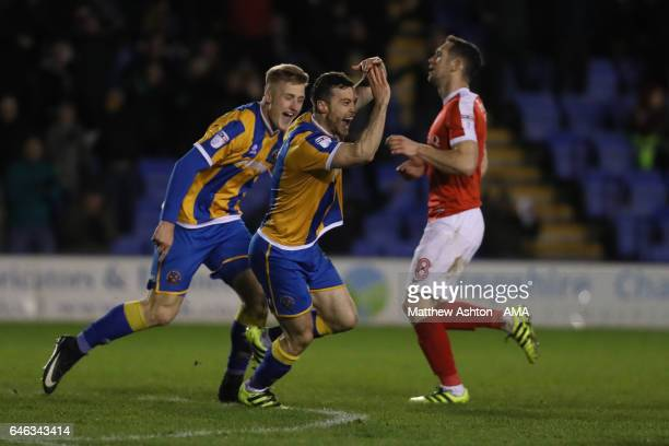 Shaun Whalley of Shrewsbury Town celebrates after scoring a goal to make it 32 during the Sky Bet League One match between Shrewsbury Town and...