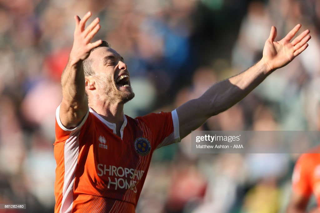 Shaun Whalley of Shrewsbury Town celebrates after scoring a goal to make it 1-1during the Sky Bet League One match between Plymouth Argyle and Shrewsbury Town at Home Park on October 14, 2017 in Plymouth, England. (Photo by Matthew Ashton - AMA/Getty Images