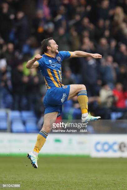 Shaun Whalley of Shrewsbury Town celebrates after scoring a goal to make it 31 during the Sky Bet League One match between Shrewsbury Town and Oxford...