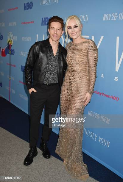 """Shaun White and Lindsey Vonn attend the premiere of HBO's """"Lindsey Vonn: The Final Season"""" at Writers Guild Theater on November 07, 2019 in Beverly..."""