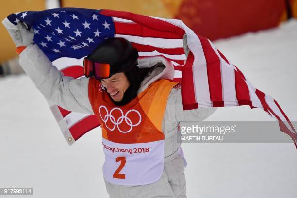 Shaun White celebrates after the final of the men's snowboard halfpipe at the Phoenix Park during the Pyeongchang 2018 Winter Olympic Games on...