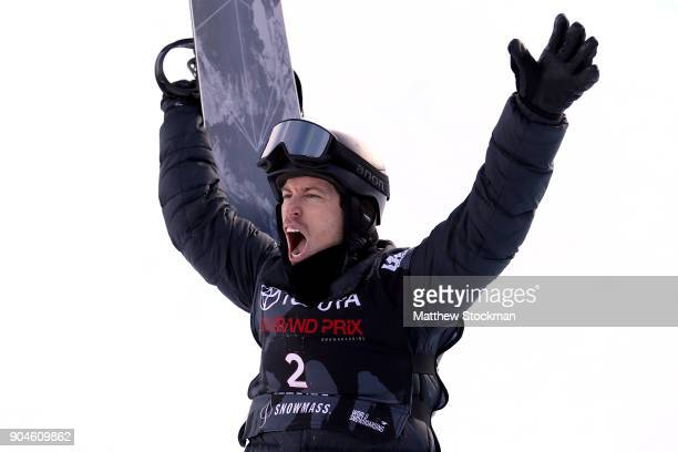 Shaun White celebrates his score of his final run in the Men's Snowboard Halfpipe final during the Toyota US Grand Prix on January 13 2018 in...
