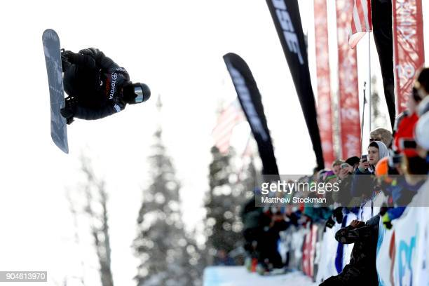 Shaun White competes in his final run during the Men's Snowboard Halfpipe final during the Toyota US Grand Prix on January 13 2018 in Snowmass...