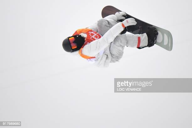 US Shaun White competes to win the final of the men's snowboard halfpipe at the Phoenix Park during the Pyeongchang 2018 Winter Olympic Games on...