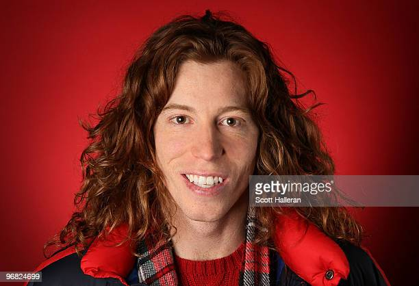 Shaun White gold medal winning halfpipe snowboarder of the United States poses in the NBC Today Show Studio at Grouse Mountain on February 18 2010 in...