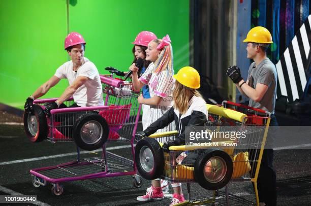 Shaun White Maia Shibutani JoJo Siwa Chloe Kim and Alex Shibutani participate in a challange onstage during the Nickelodeon Kids' Choice Sports 2018...