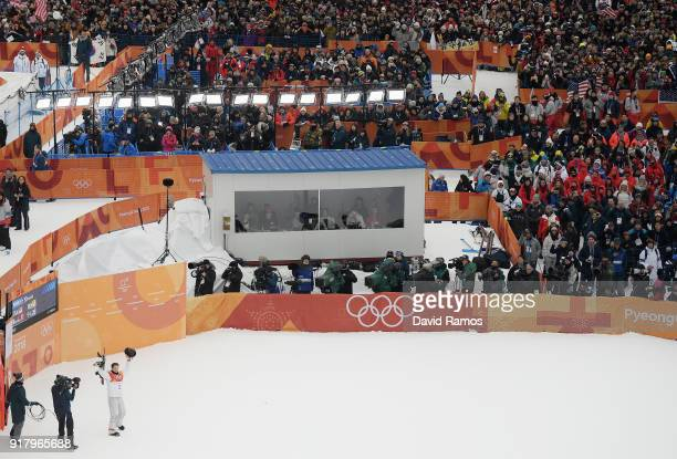Shaun White of the United States celebrates after his first run during the Snowboard Men's Halfpipe Final on day five of the PyeongChang 2018 Winter...