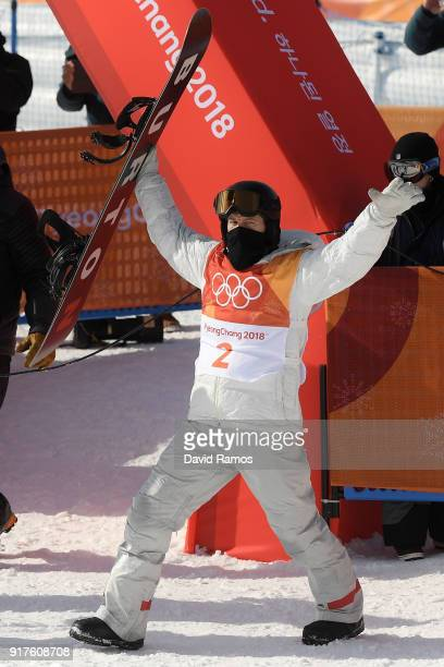 Shaun White of the United States celebrates after his second run during the Snowboard Men's Halfpipe Qualification on day four of the PyeongChang...