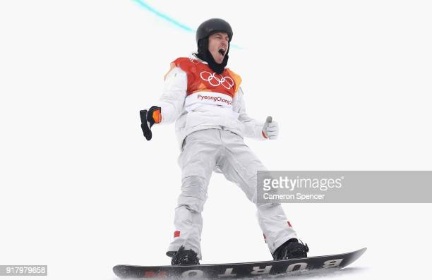 Shaun White of the United States celebrates after his third run during the Snowboard Men's Halfpipe Final on day five of the PyeongChang 2018 Winter...