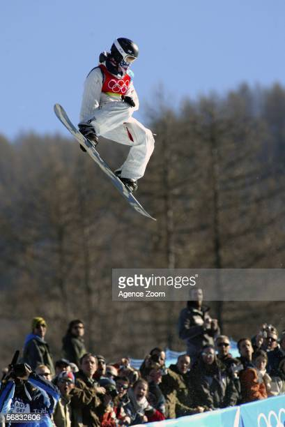 Shaun White of the United States competes and takes the Gold Medal in the Mens Snowboard Half Pipe Final on Day 2 of the 2006 Turin Winter Olympic...
