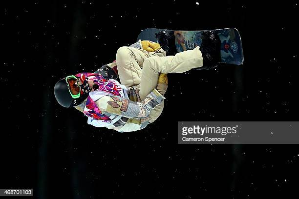 Shaun White of the United States competes in the Snowboard Men's Halfpipe Finals on day four of the Sochi 2014 Winter Olympics at Rosa Khutor Extreme...