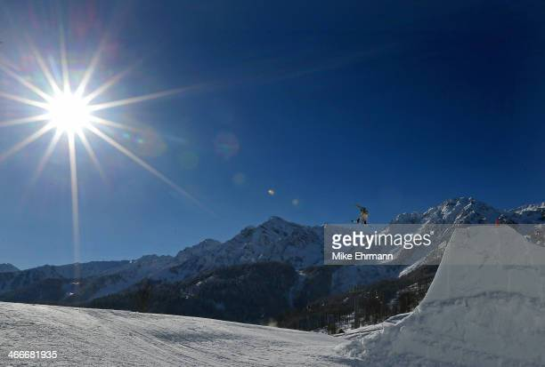 Shaun White of the United States practices during training for Snowboard Slopestyle at the Extreme Park at Rosa Khutor Mountain on February 3 2014 in...