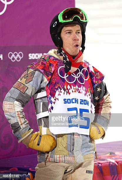 Shaun White of the United States reacts after competing in the Snowboard Men's Halfpipe Finals on day four of the Sochi 2014 Winter Olympics at Rosa...