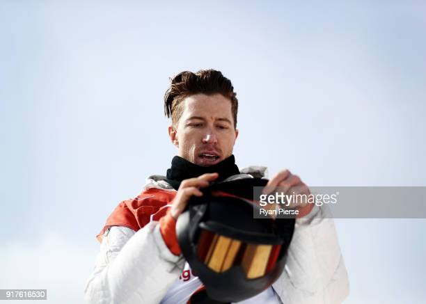 Shaun White of the United States reacts after his run during the Snowboard Men's Halfpipe Qualification on day four of the PyeongChang 2018 Winter...