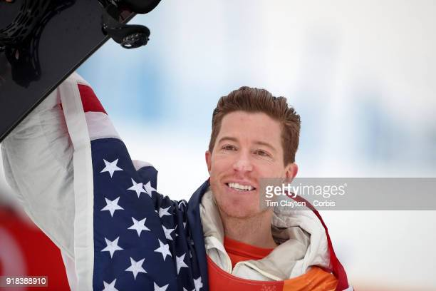 Shaun White of the United States reacts after winning the gold medal in the Snowboard Men's Halfpipe competition at Phoenix Snow Park on February 14...